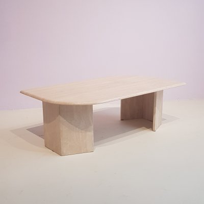 French Teardrop Travertine Coffee table, 1970s
