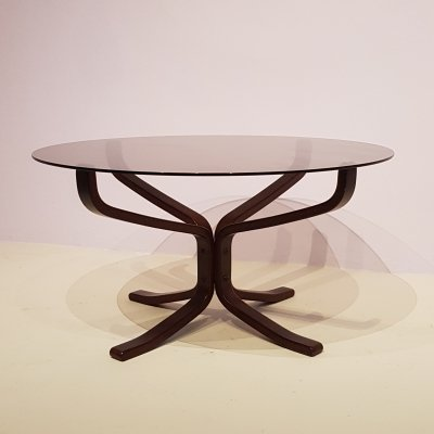 Falcon Coffee Table by Sigurd Ressell in Smoked Glass with Beech Legs, 1970s