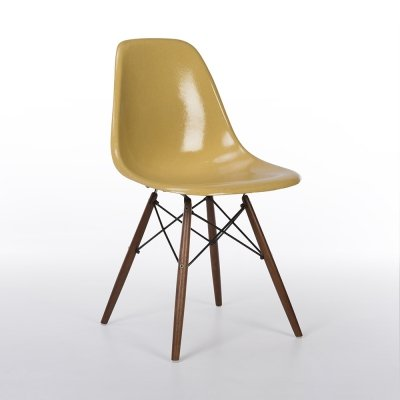 Ochre Herman Miller Original Vintage Eames DSW Dining Side Chair