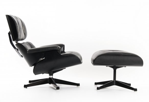 Rare Eames Black Edition lounge chair + ottoman by Fehlbaum for Herman Miller, 1972