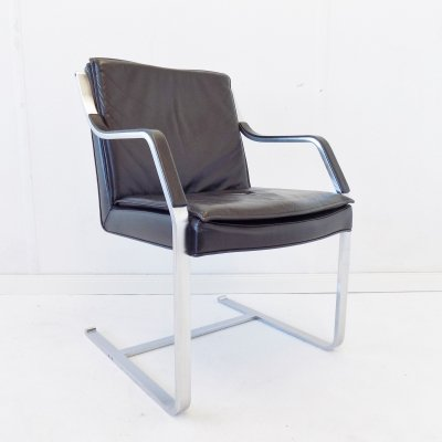 Black leather Knoll Art Collection armchair, 1980s