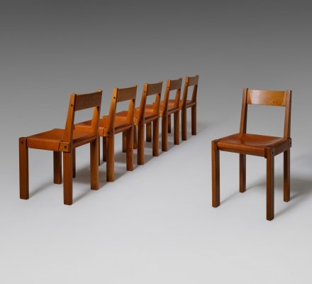 Pierre Chapo 'S24' Chairs in Solid Elm & Leather, France 1960s