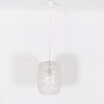 Blown & frosted glass pendant by Doria, 1970's