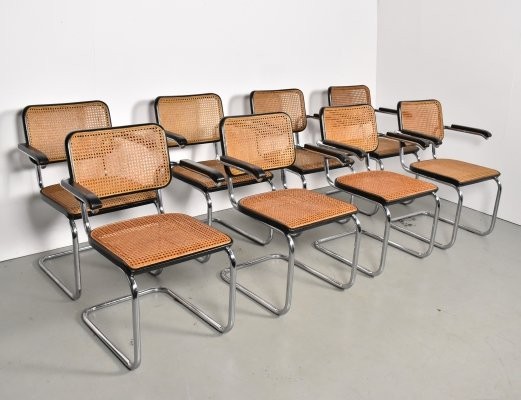 Set of 8 Cesca S64 chairs by Marcel Breuer for Thonet, 1970s