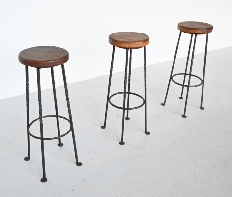 Set of 3 French wrought iron bar stools, France 1960
