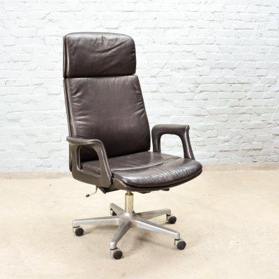 Deep Brown Leather Swivel Adjustable Desk Chair on Steel Pedestal, 1970s