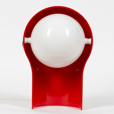 Red plastic ABS Telegono lamp by Vico Magistretti for Artemide, 1966