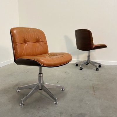 Pair of vintage Cognac leather office chairs by Ico & Luisa Parisi for MIM, 1960s