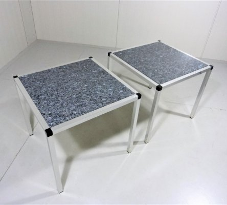 Pair of Granite side tables, 1970-80's