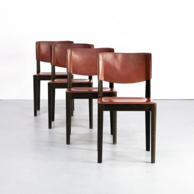 Set of 4 leather & ebonized oak dining chairs for Matteo Grassi, 1960s