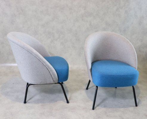 Pair of Mid Century Modern Club Lounge Chairs, 1950s