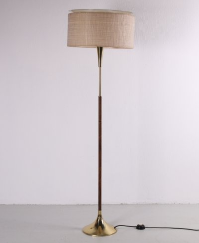 Vintage rosewood floor lamp with brass base & fabric shade