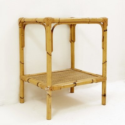 Rattan And Glass End Table, 1970s