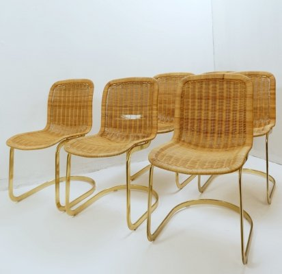 Set of 6 Wicker Dining Chairs by Cidue, 1970s