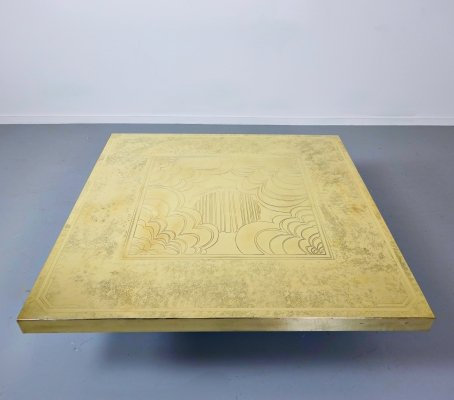 Brass Coffee Table by George Mathias, Belgium 1970s