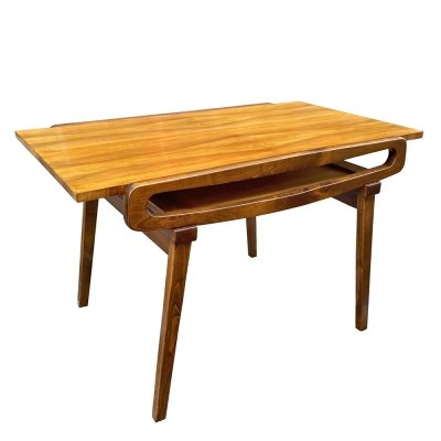 Mid Century Modern dining table with walnut veneered top, Poland 1960s