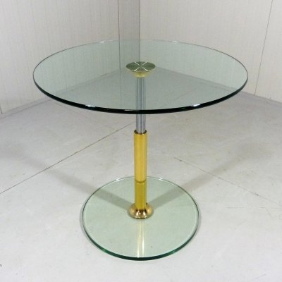 Peter Draenert round glass side table, 1980's