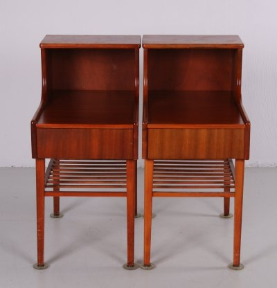 Set of Danish vintage bedside tables with drawer & wooden rack
