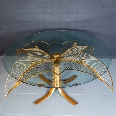 Vintage palm leaves coffee table, 1960s