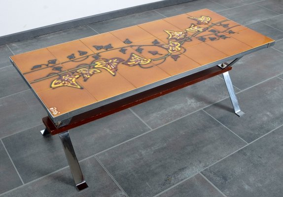 Adri coffee table with hand-painted tiles, 1970s