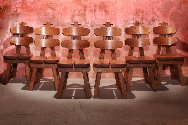 Vintage Mid Century Brutalist Solid Oak Dining Chairs, 70s