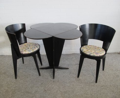 Vintage French rare small drop leaf table with two chairs, 1960s