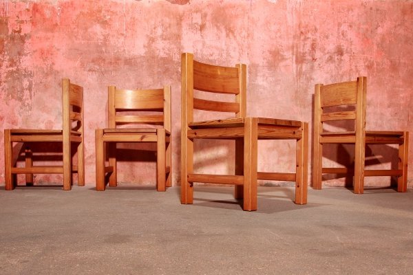 Set of 4 Vintage Pine Wood Dining Chairs, 1970s