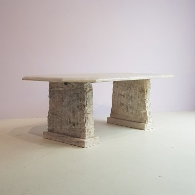Massive Sculpted Brutalist Marble Coffee Table