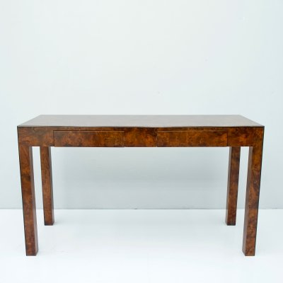 Burl Wood Console Table or Small Writing Desk, 1970s