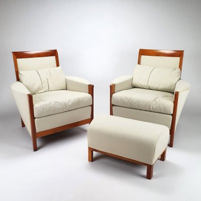 Set of 2 Art Deco Style Giorgetti Armchairs by Umberto Asnago, 1980s