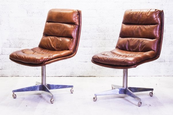 Pair of Cognac Leather Swivel Chairs, 1990s