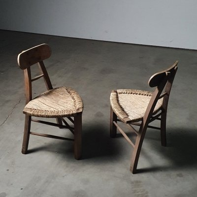 Vintage tripod rush chairs in wood, 1960s