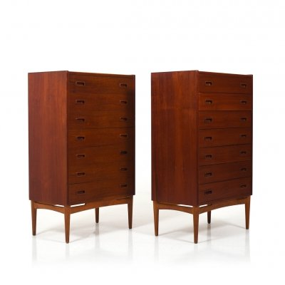 Pair of Danish Tallboy Chest of Drawers, 1950s
