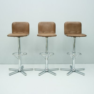 Set of Three Swivel Bar Stools in Leather & Chrome, 1970s