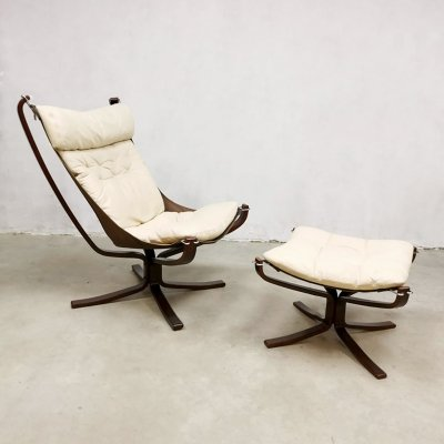 Vintage Falcon easy chair & ottoman by Sigurd Resell for Vatne Møbler