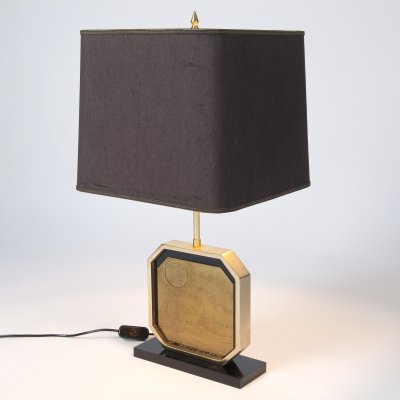 Brass Etched 23ct Gold Brutalist Table Lamp by Georges Mathias, Belgium 1970's