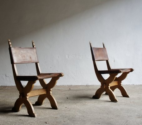 Pair of Gothic Style Leather Chairs, 1960s