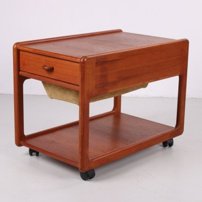 Danish teak sewing table with drawer & leather basket, 1960s