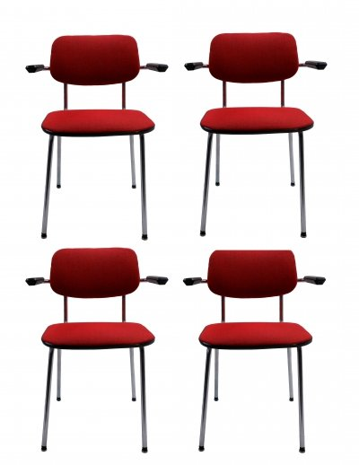 Set of 4 Gispen Arm Chairs model 1235, 1980s