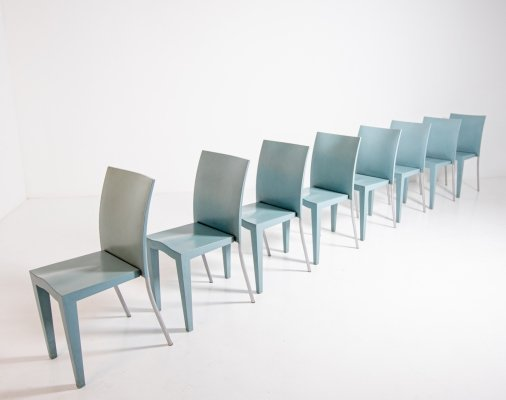 Set of 8 light blue propylene chairs by Philippe Starck for Kartell, 1990s