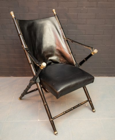 Leather Campaign folding chair by Valenti, 1970s