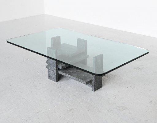 Willy Ballez sculptural coffee table in grey marble, Belgium 1972