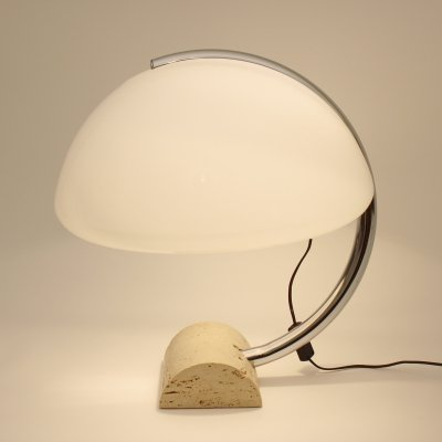 Desk lamp with traverine base, 1970s