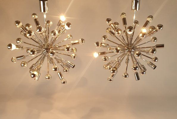 Set of 2 Sputnik chrome chandeliers, 1970s