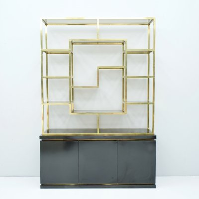 Brass Etagere Shelf or Room Divider with Black Sideboard by Kim Moltzer, 1970s