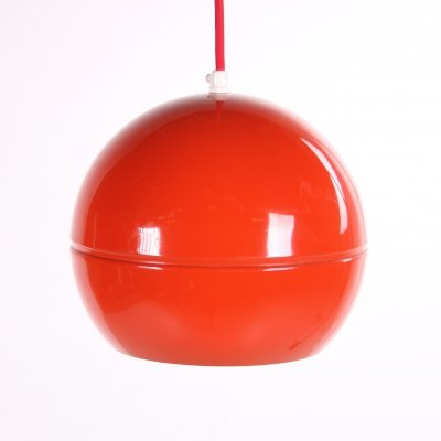 Vintage red spherical metal hanging lamp, 1960s