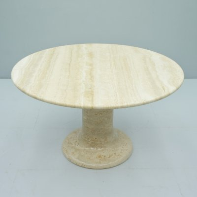 Large Round Travertine Dining Table, Italy 1970s
