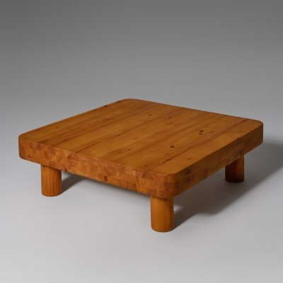 Large square coffee table in solid pine, 1960s
