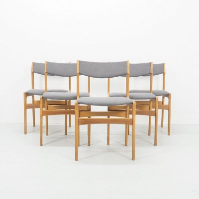 Set of 5 vintage Danish design dining chairs by Erik Buch, 1960's