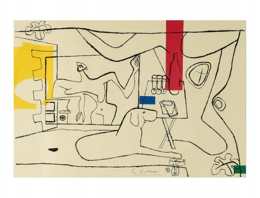 Signed & numbered 'Cortège Plate 3' Lithograph from an original work by Le Corbusier, 1960s